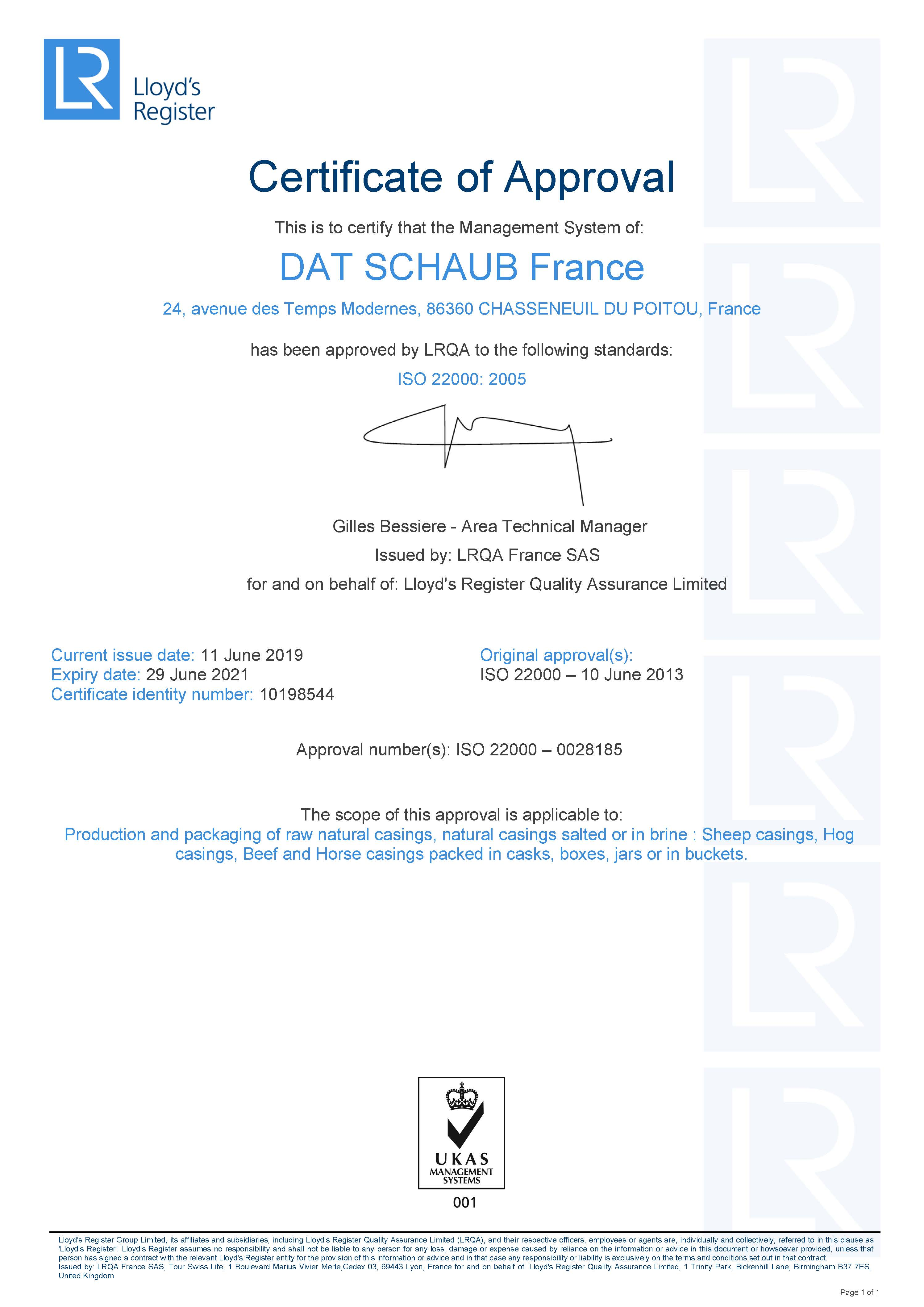 Certifcat ISO 22 000 - Chasseneuil - 2019-2021 - UK