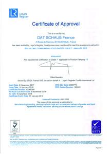 Certificat BRC 2018