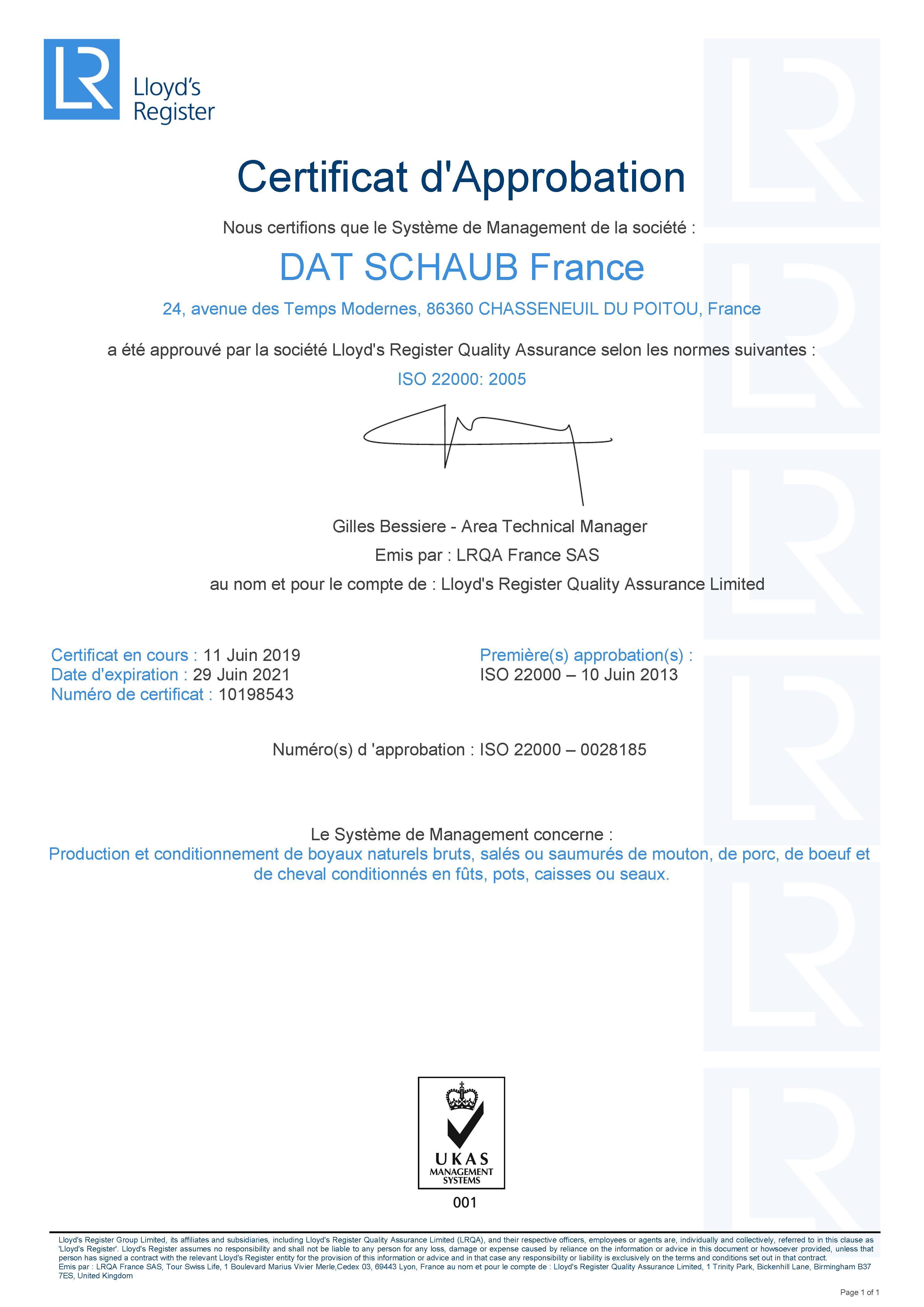 Certificat ISO 22 000 - Chasseneuil 2019-2021