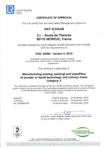 FSSC22000 certificate - Moreuil