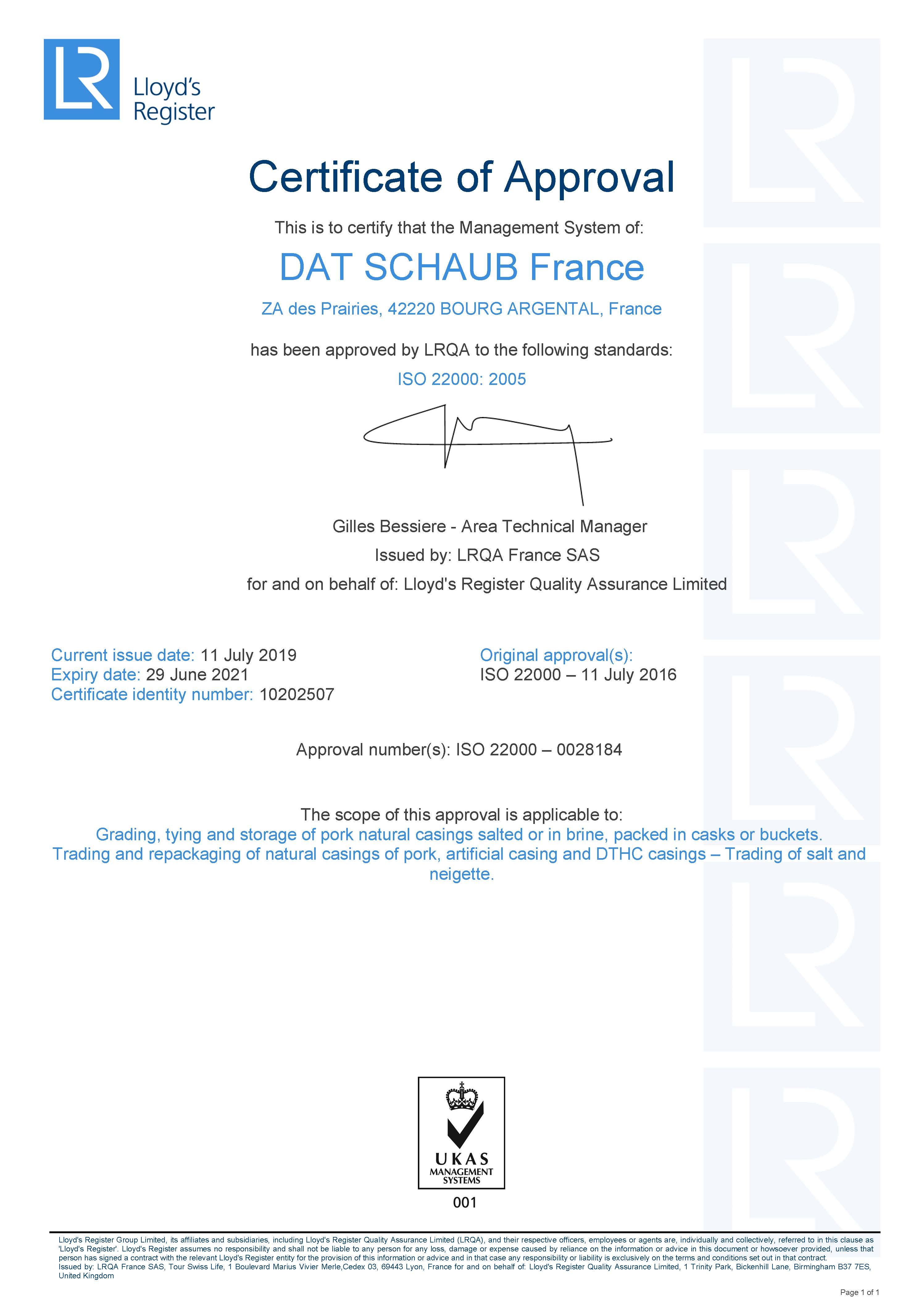 ISO22000 certificate - Argental UK - july 2021
