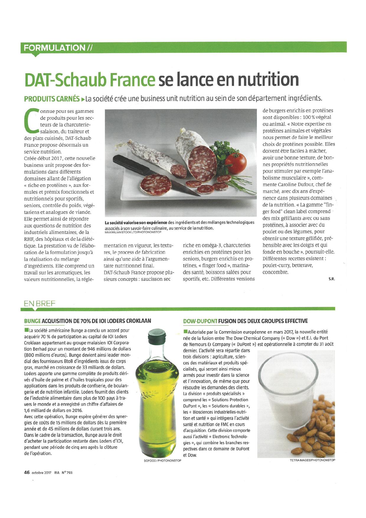 Article - DAT-Schaub France se lance en nutrition - dans RIA N┬░ 793 - Octobre 2017