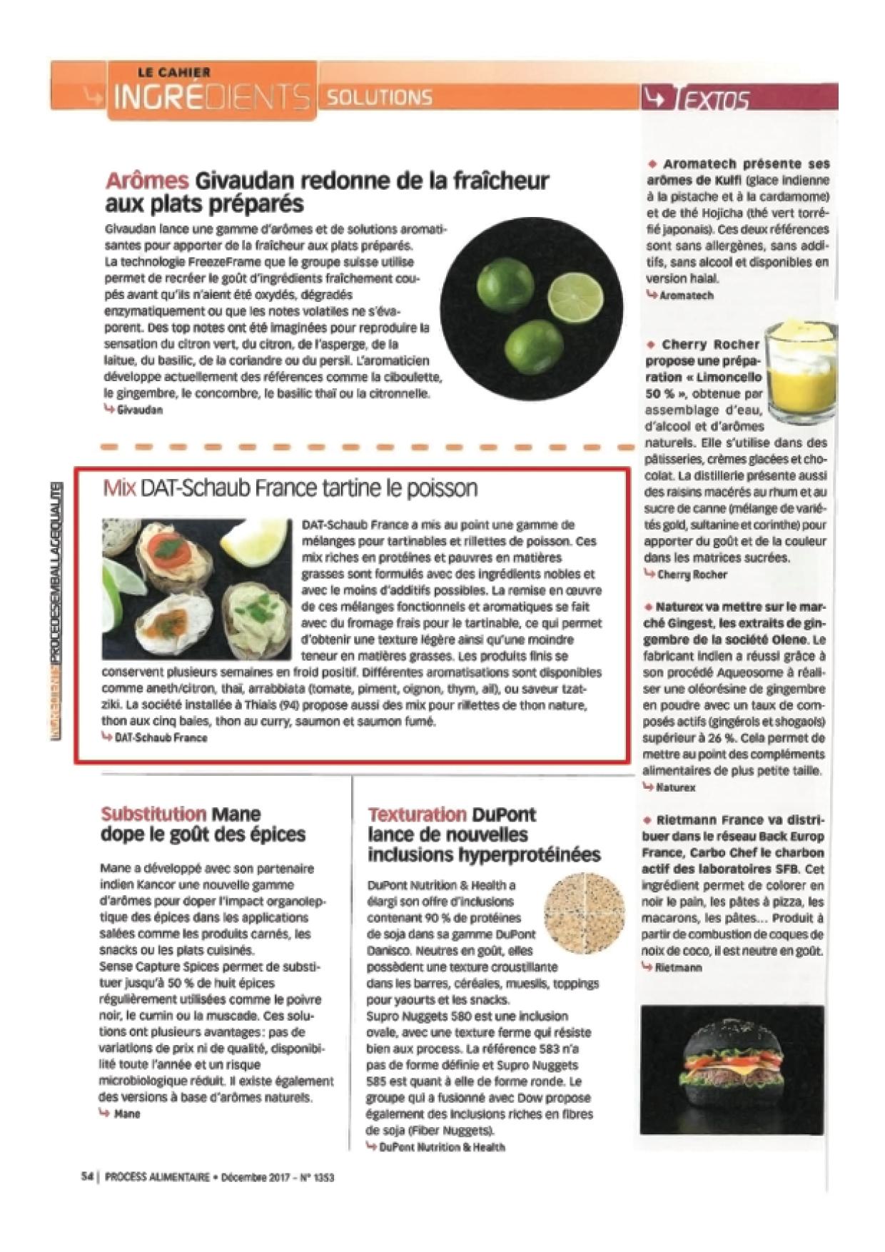 Article dans PROCESS N°1353 - Décembre 2017 - Mix DAT-Schaub France tartine le poisson2