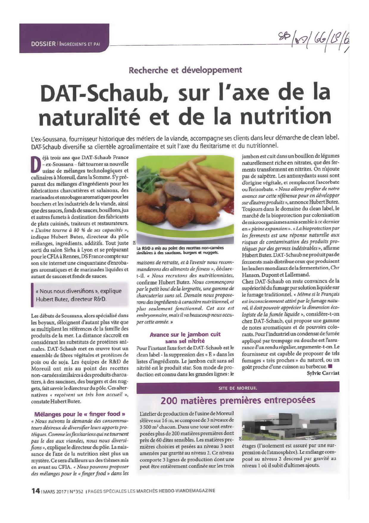 Article dans Viande Magazine N°352 mars 2017 - DAT-Schaub sur l'axe de la naturalité et de la nutrition2