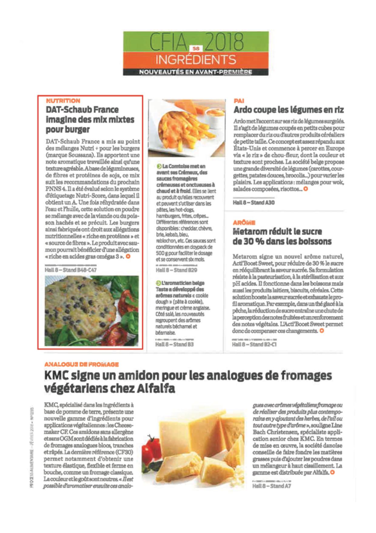 Articles sur les burgers Nutri + et les enrobages santé dans PROCESS N°1355 de février 2018 et Guide du salon de PROCESS de mars 20183