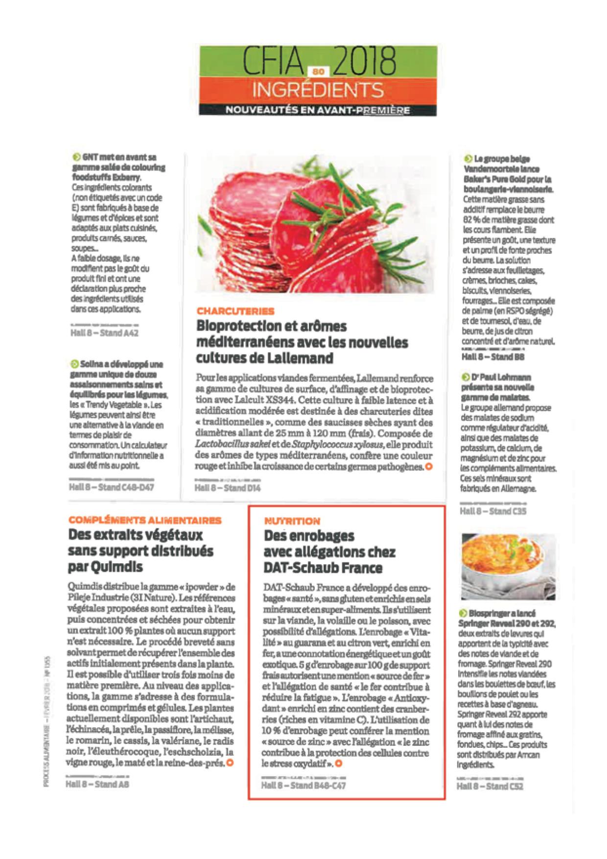 Articles sur les burgers Nutri + et les enrobages santé dans PROCESS N°1355 de février 2018 et Guide du salon de PROCESS de mars 20184