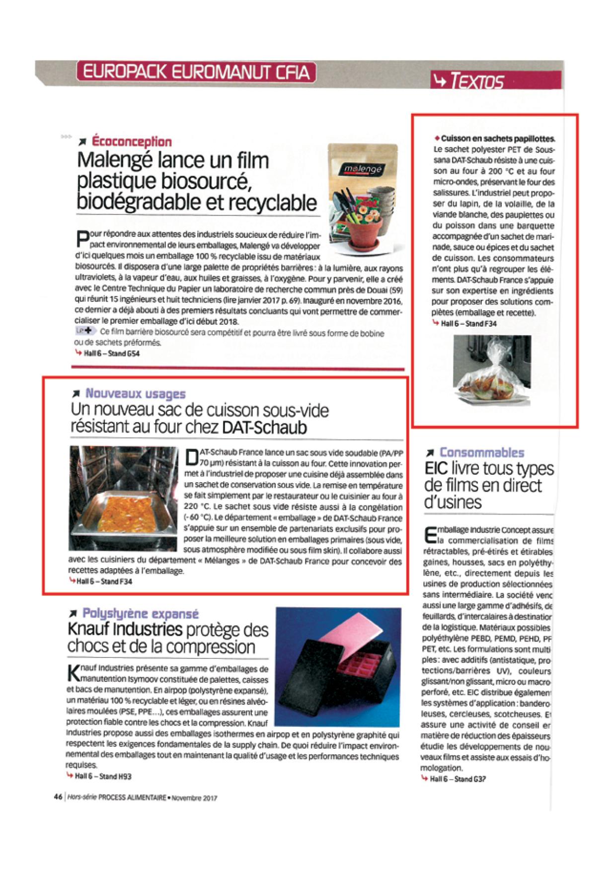 PROCESS HORS SERIE EUROPACK EUROMANUT - Novembre 2017 - 3 articles produits emballages2