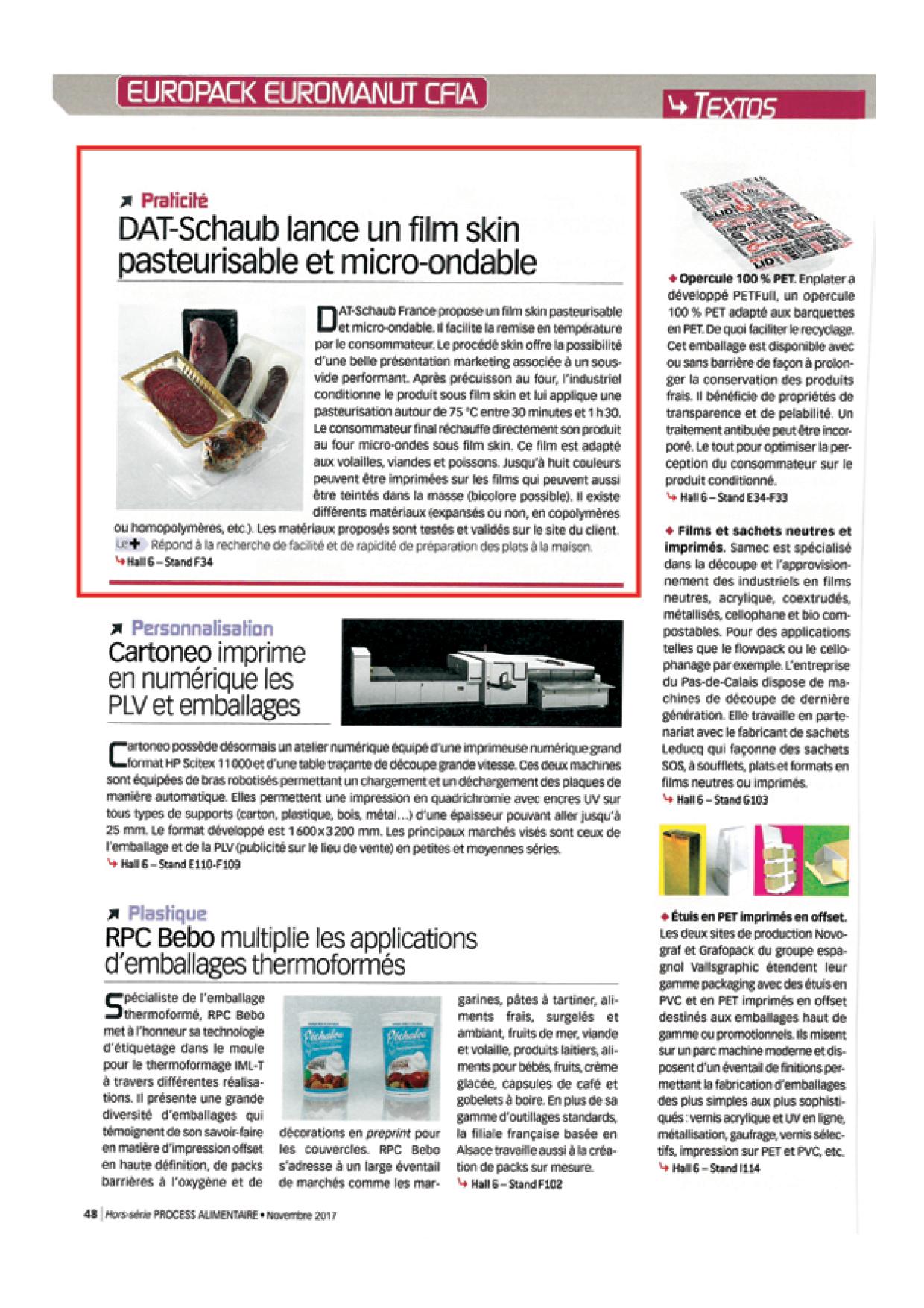 PROCESS HORS SERIE EUROPACK EUROMANUT - Novembre 2017 - 3 articles produits emballages3
