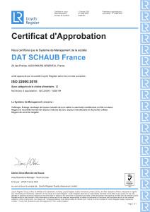 Certificat ISO 22000- 2020- Bourg Argental