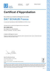 Certificat ISO 22000- 2020- Chasseneuil