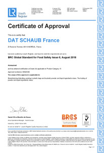 Dat-Schaub Certificat BRC 2021 - Moreuil - exp 17012022